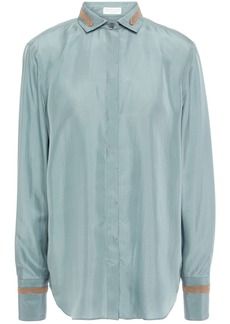 Brunello Cucinelli Woman Bead-embellished Silk-satin Shirt Sky Blue