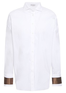 Brunello Cucinelli Woman Bead-embellished Silk-trimmed Stretch-cotton Poplin Shirt White