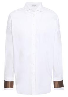 Brunello Cucinelli Woman Bead-embellished Silk-trimmed Stretch-cotton Poplin Shirt White