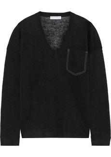 Brunello Cucinelli Woman Bead-embellished Slub Linen-blend Top Black