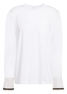 Brunello Cucinelli Woman Bead-embellished Silk-georgette And Stretch-cotton Jersey Top White
