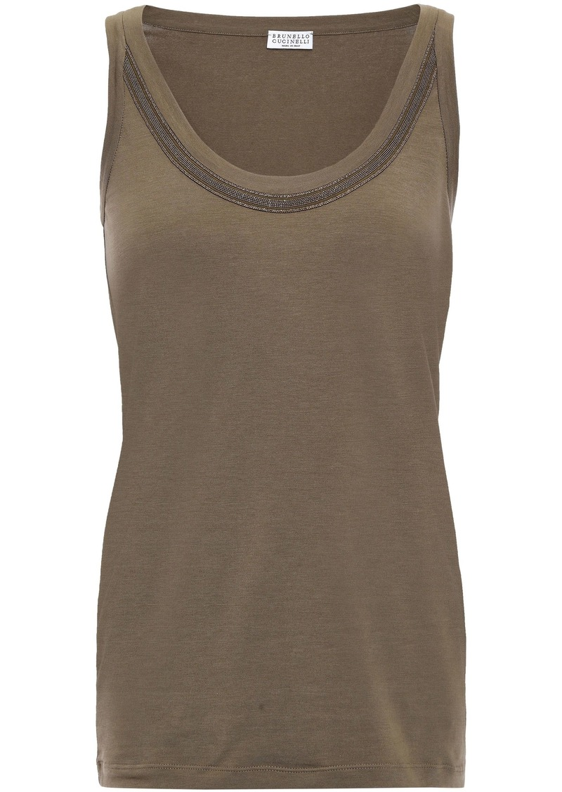 Brunello Cucinelli Woman Bead-embellished Stretch-cotton Jersey Tank Army Green