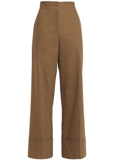 Brunello Cucinelli Woman Bead-embellished Stretch-cotton Wide-leg Pants Camel