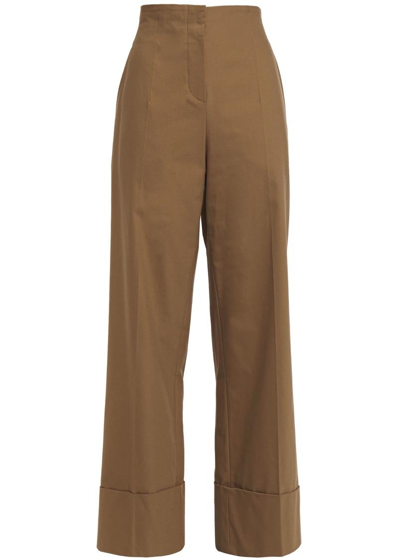 Brunello Cucinelli Woman Bead-embellished Stretch-cotton Wide-leg Pants Camel