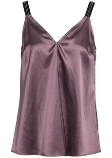 Brunello Cucinelli Woman Bead-embellished Stretch-silk Satin Camisole Lavender