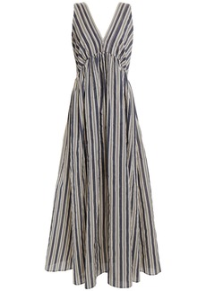 Brunello Cucinelli Woman Bead-embellished Striped Cotton And Silk-blend Maxi Dress Dark Gray