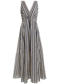 Brunello Cucinelli Woman Bead-embellished Striped Cotton And Silk-blend Maxi Dress Dark Gray