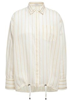 Brunello Cucinelli Woman Bead-embellished Striped Cotton And Silk-blend Shirt Cream