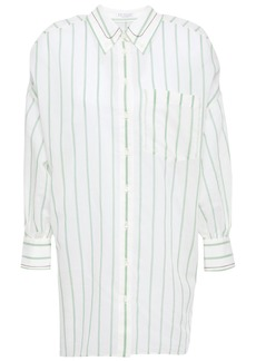 Brunello Cucinelli Woman Bead-embellished Striped Cotton And Silk-blend Shirt Ivory