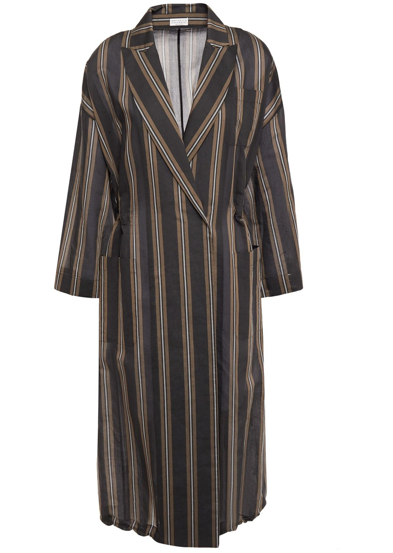 Brunello Cucinelli Woman Bead-embellished Striped Cotton And Silk-blend Wrap Dress Black