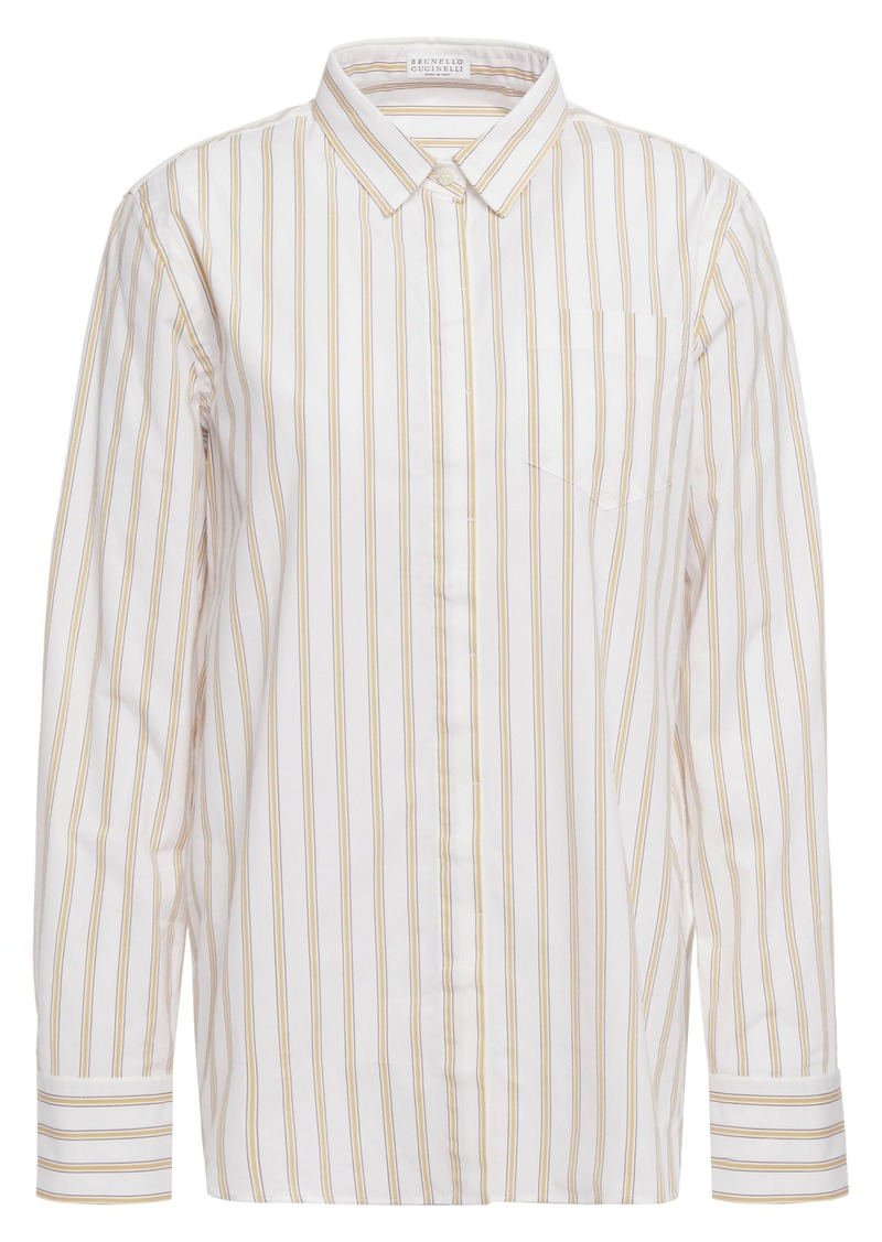 Brunello Cucinelli Woman Bead-embellished Striped Stretch-cotton Poplin Shirt Ivory