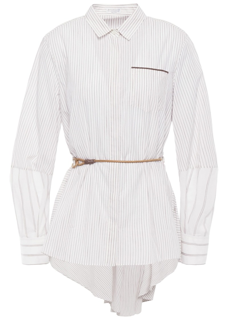 Brunello Cucinelli Woman Bead-embellished Striped Cotton-poplin Shirt Ivory