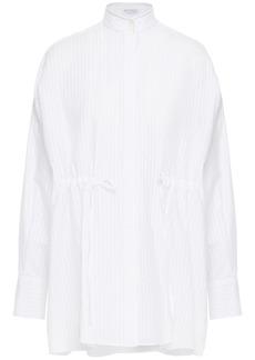 Brunello Cucinelli Woman Bead-embellished Striped Cotton-poplin Shirt White