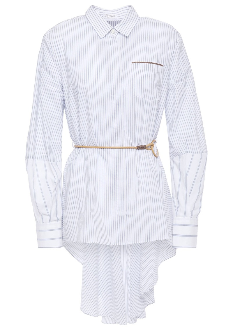 Brunello Cucinelli Woman Bead-embellished Striped Cotton-poplin Shirt White