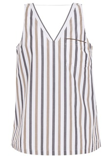 Brunello Cucinelli Woman Bead-embellished Striped Cotton-poplin Tank White