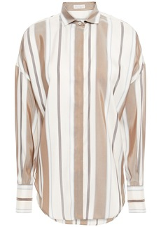 Brunello Cucinelli Woman Bead-embellished Striped Silk Crepe De Chine Shirt Off-white