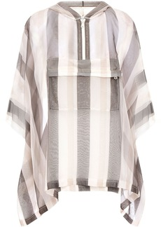 Brunello Cucinelli Woman Bead-embellished Striped Silk-organza Hooded Poncho Off-white