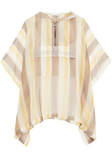 Brunello Cucinelli Woman Bead-embellished Striped Silk-organza Hooded Poncho Pastel Yellow