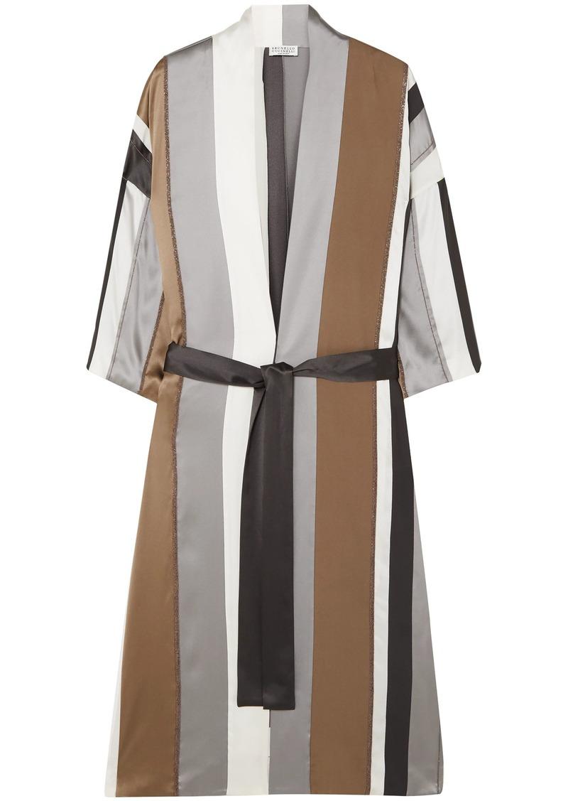 Brunello Cucinelli Woman Bead-embellished Striped Stretch-silk Satin Jacket Gray