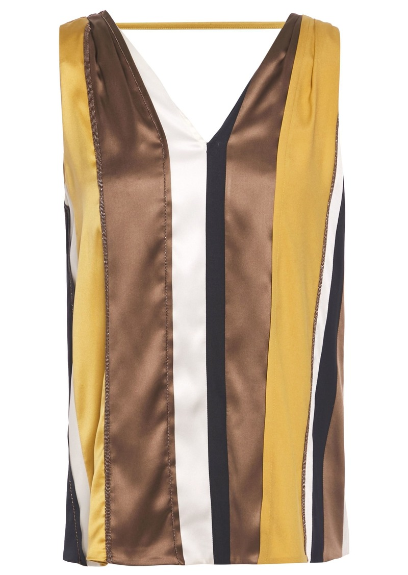 Brunello Cucinelli Woman Bead-embellished Striped Stretch-silk Top Mustard