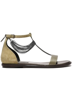 Brunello Cucinelli Woman Bead-embellished Suede And Leather Sandals Sage Green
