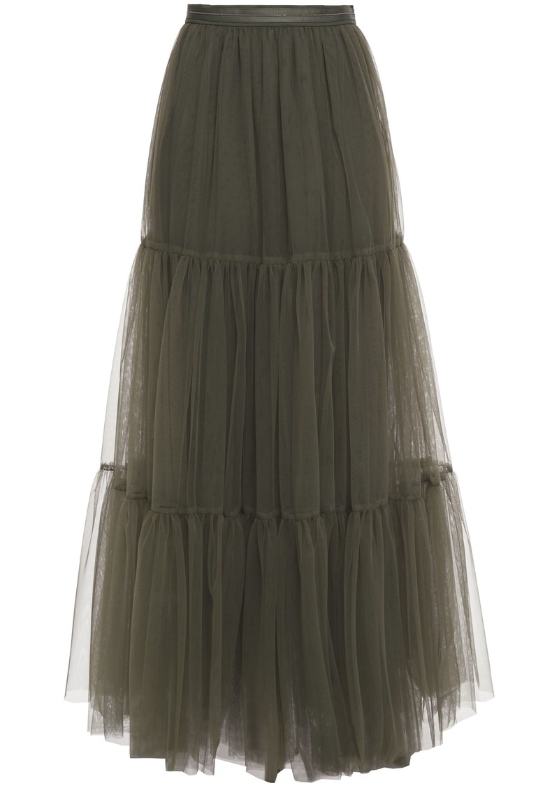 Brunello Cucinelli Woman Bead-embellished Tulle Maxi Skirt Army Green