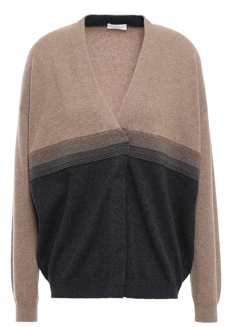Brunello Cucinelli Woman Bead-embellished Two-tone Cashmere Cardigan Tan