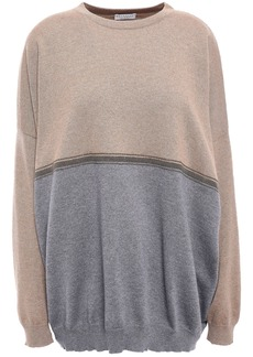 Brunello Cucinelli Woman Bead-embellished Two-tone Cashmere Sweater Light Brown