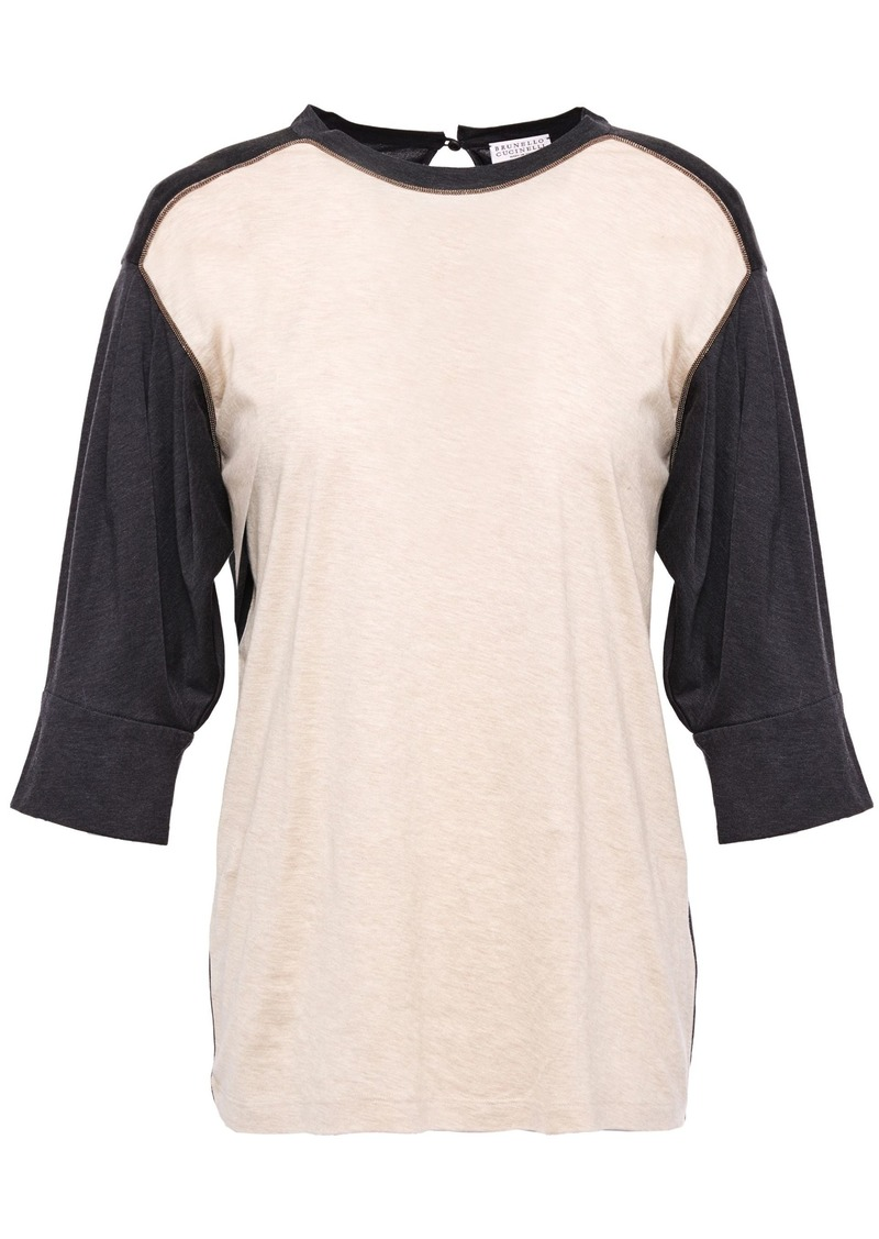 Brunello Cucinelli Woman Bead-embellished Two-tone Cotton-jersey Top Neutral