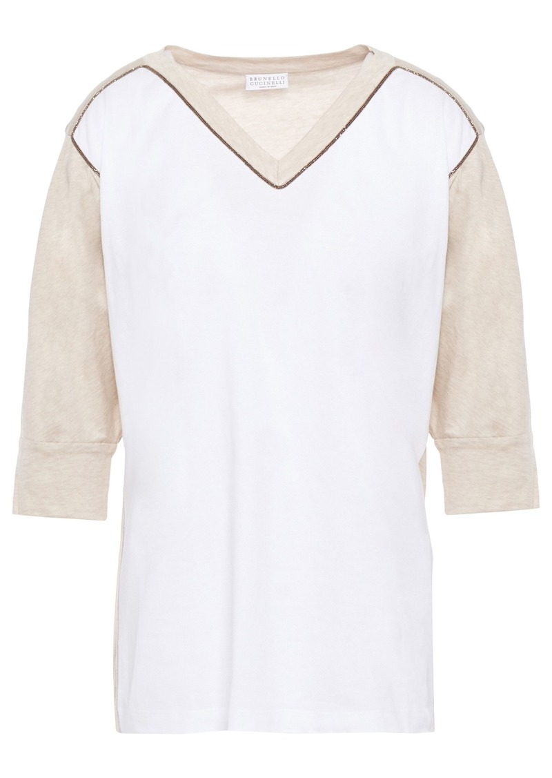 Brunello Cucinelli Woman Bead-embellished Two-tone Cotton-jersey Top Off-white