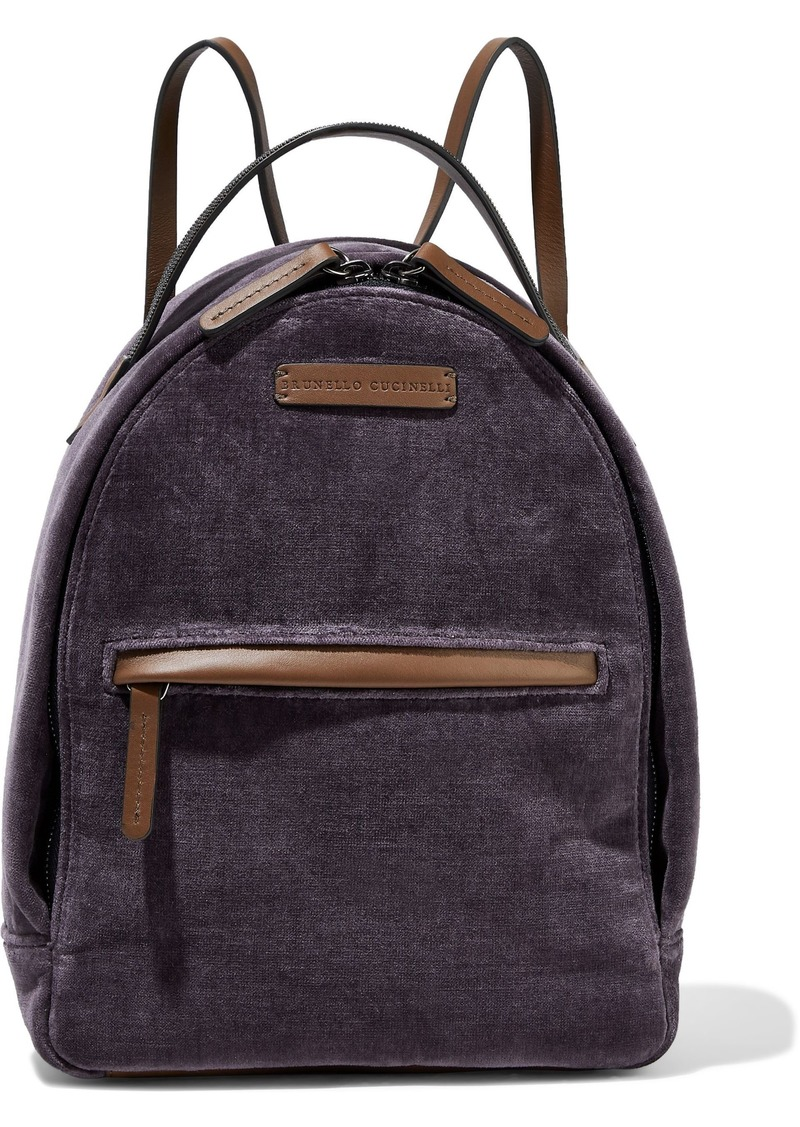 Brunello Cucinelli Woman Bead-embellished Velvet And Leather Backpack Purple