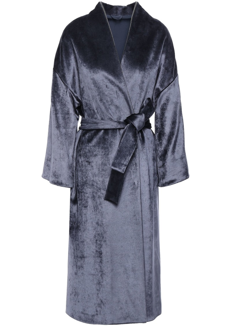 Brunello Cucinelli Woman Bead-embellished Velvet Kimono Navy