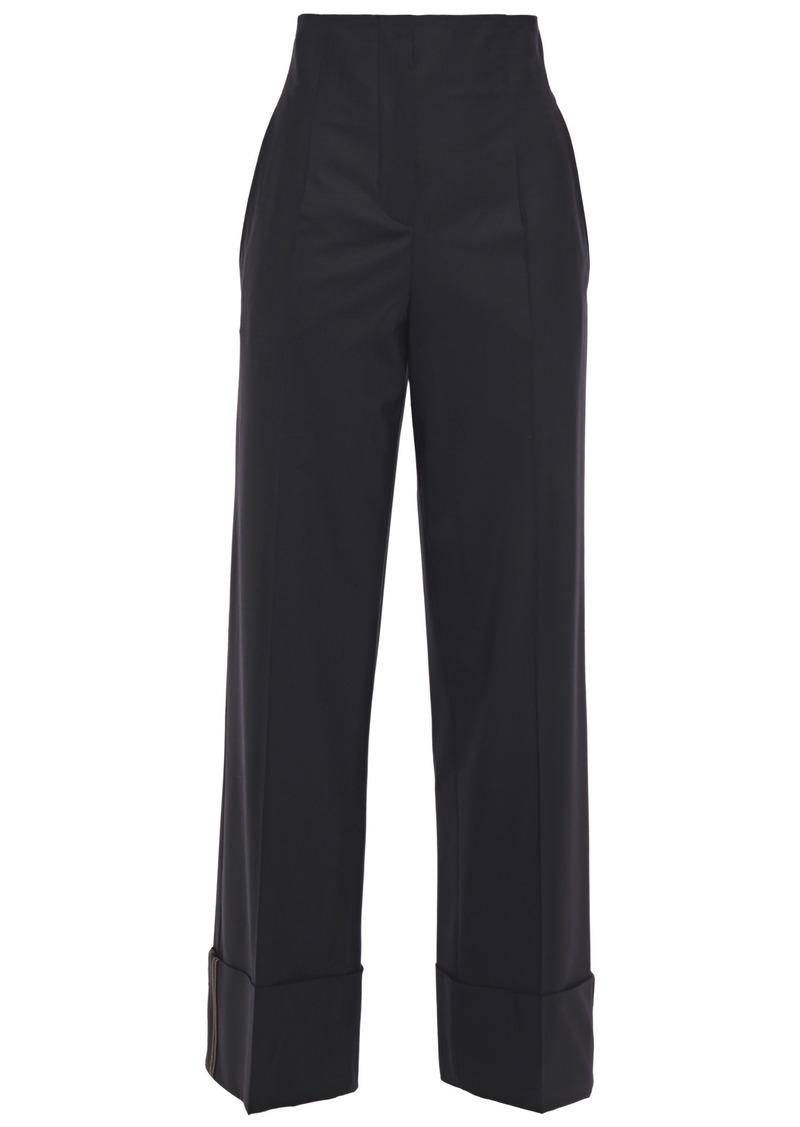 Brunello Cucinelli Woman Bead-embellished Wool-blend Straight-leg Pants Black