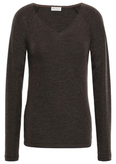Brunello Cucinelli Woman Bead-embellished Wool-blend Sweater Dark Brown