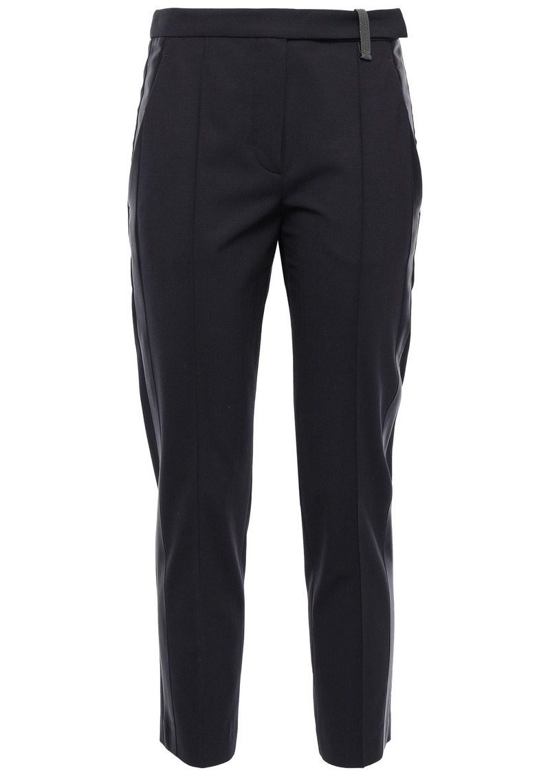 Brunello Cucinelli Woman Bead-embellished Wool-blend Tapered Pants Black