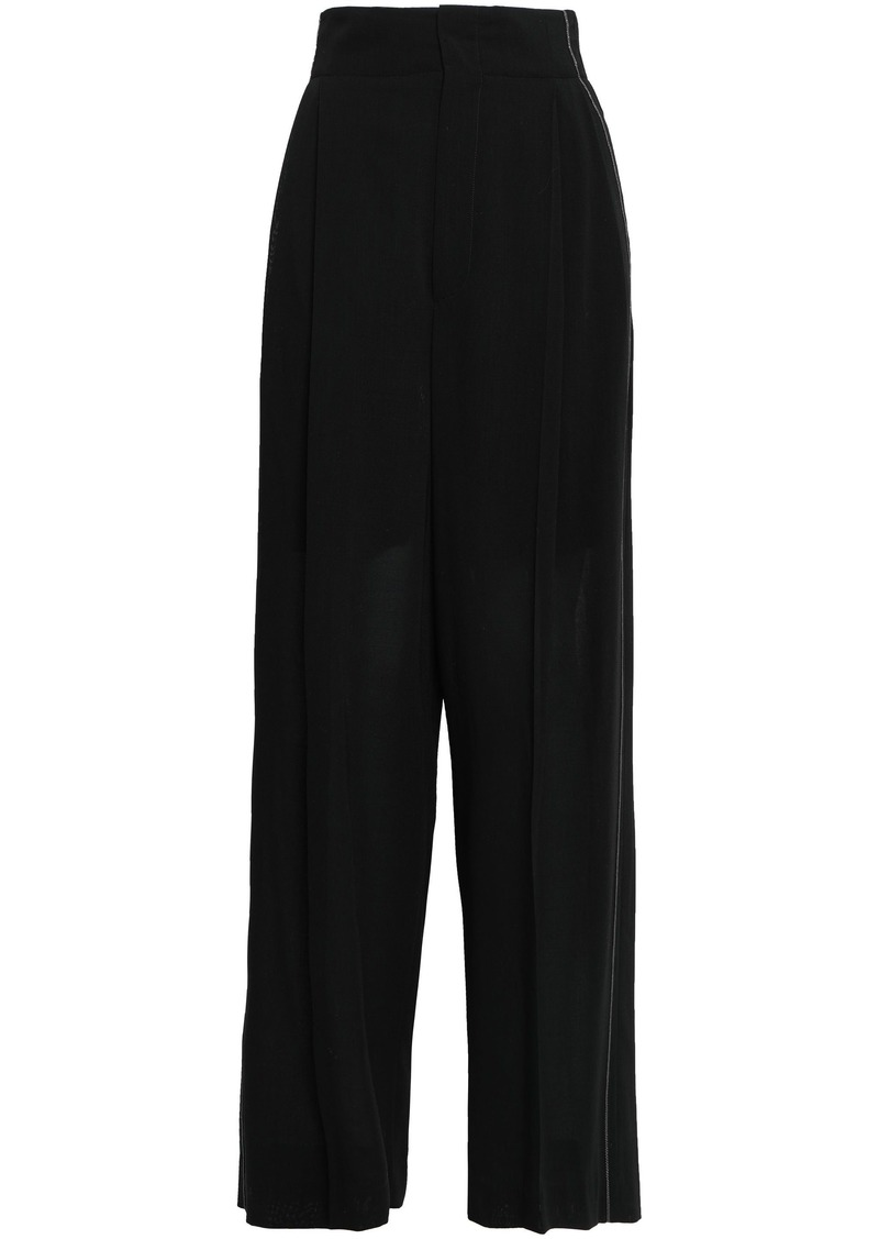 Brunello Cucinelli Woman Bead-embellished Wool Wide-leg Pants Black