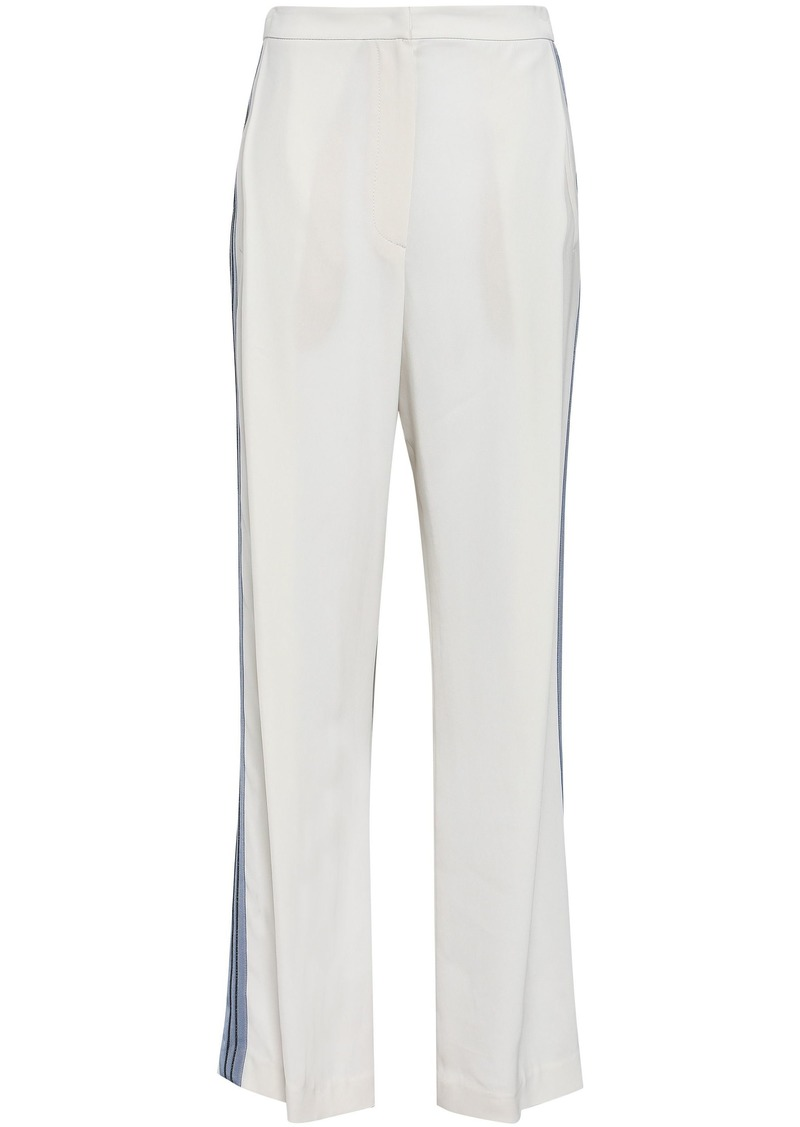 Brunello Cucinelli Woman Beaded Grosgrain-trimmed Crepe Wide-leg Pants Ivory