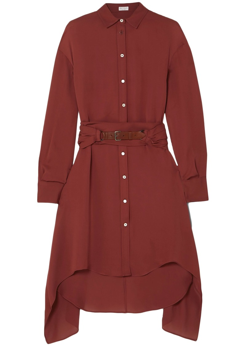 Brunello Cucinelli Woman Belted Asymmetric Silk-chiffon Shirt Brick