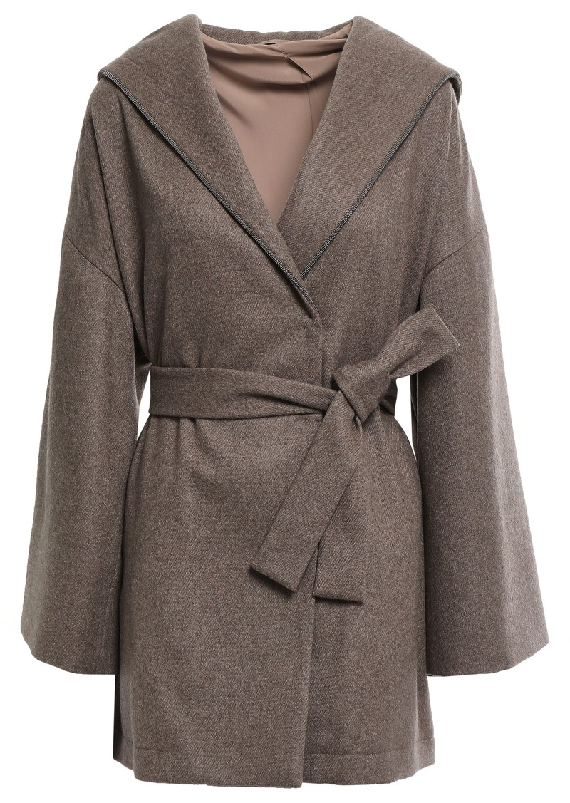 Brunello Cucinelli Woman Belted Bead-embellished Cashmere Hooded Coat Taupe