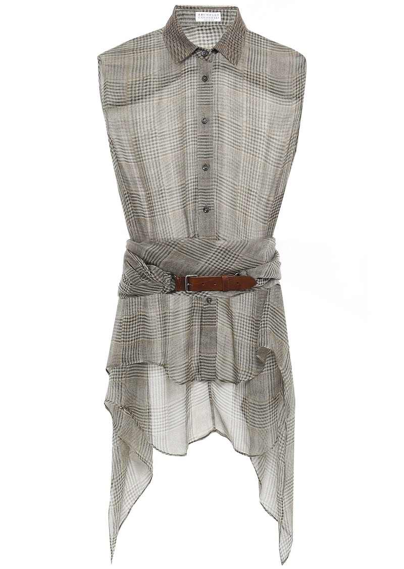 Brunello Cucinelli Woman Belted Bead-embellished Checked Silk-chiffon Shirt Sage Green