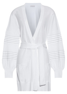 Brunello Cucinelli Woman Belted Bead-embellished Cotton Cardigan White