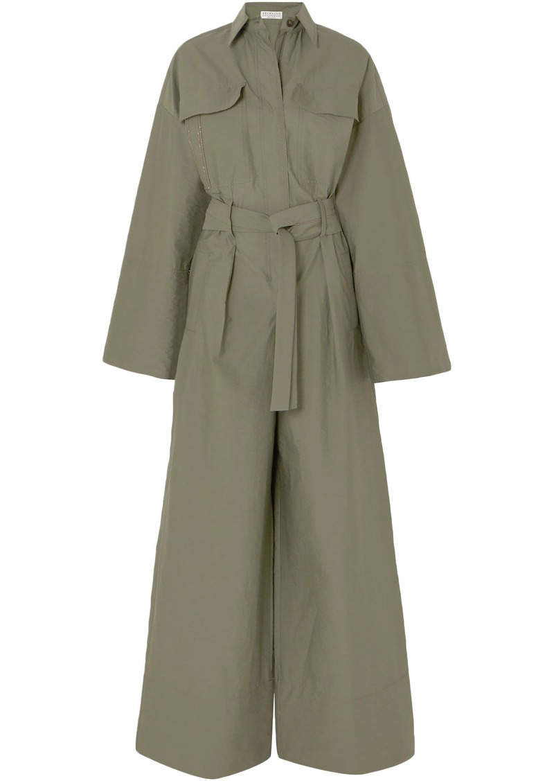 Brunello Cucinelli Woman Belted Bead-embellished Crinkled Cotton-blend Jumpsuit Army Green