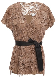 Brunello Cucinelli Woman Belted Bead-embellished Crocheted Lace Top Light Brown
