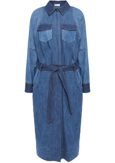 Brunello Cucinelli Woman Belted Bead-embellished Denim Midi Shirt Dress Mid Denim