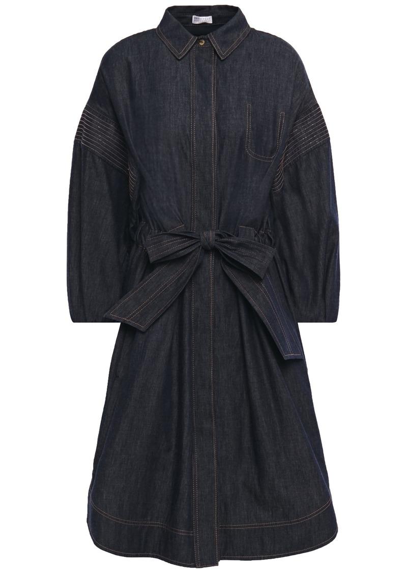 Brunello Cucinelli Woman Belted Bead-embellished Denim Shirt Dress Dark Denim