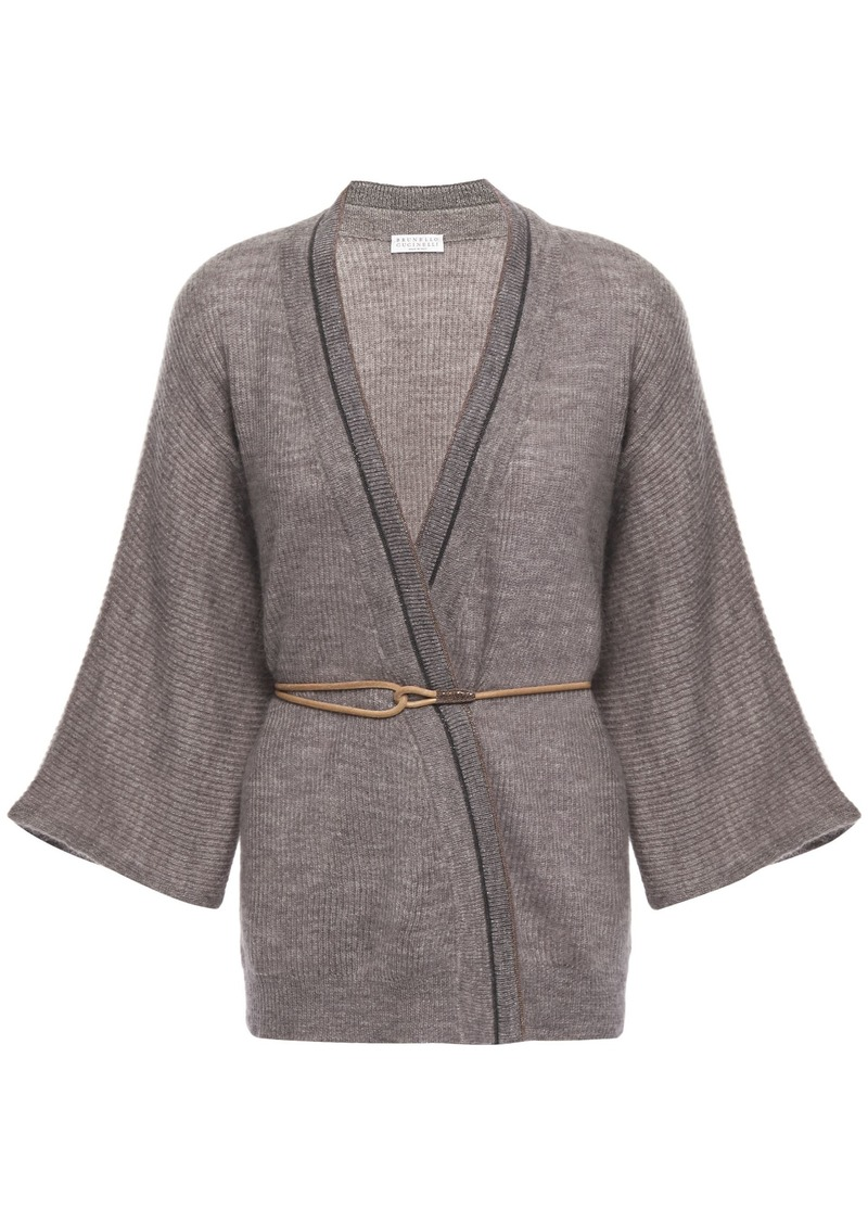 Brunello Cucinelli Woman Belted Bead-embellished Mélange Knitted Cardigan Taupe