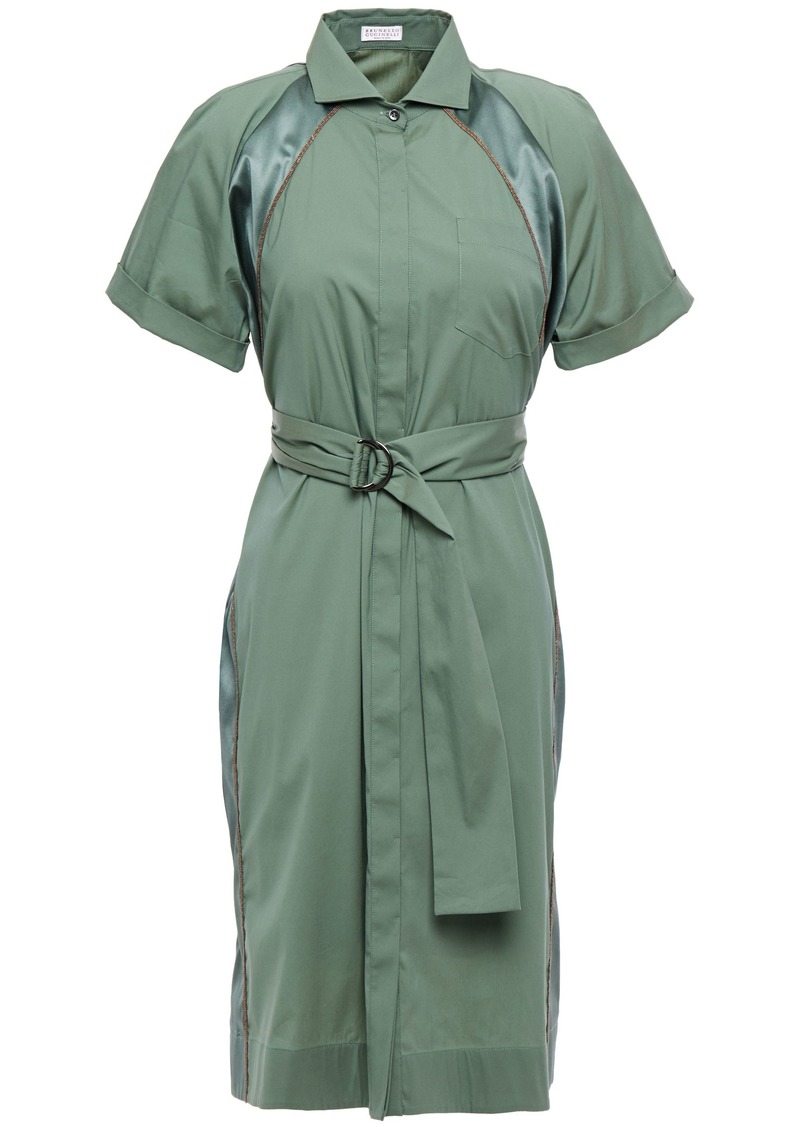 Brunello Cucinelli Woman Belted Bead-embellished Satin-trimmed Cotton-blend Shirt Dress Grey Green