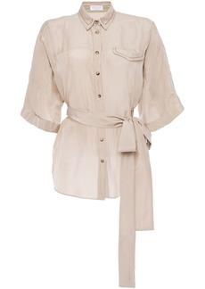 Brunello Cucinelli Woman Belted Bead-embellished Silk-chiffon Shirt Neutral