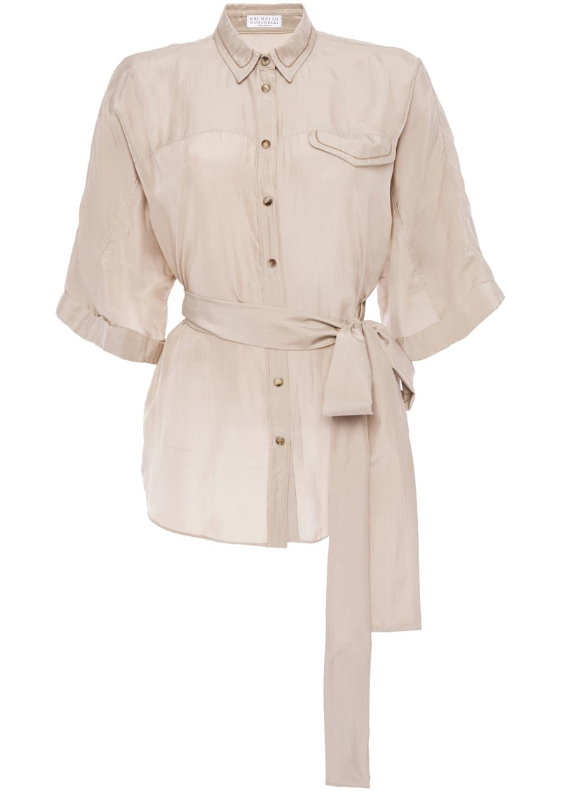 Brunello Cucinelli Woman Belted Bead-embellished Silk-chiffon Shirt Neutral