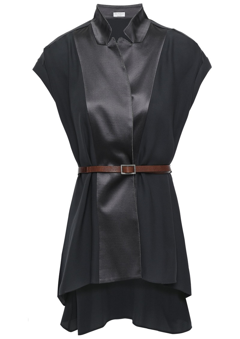 Brunello Cucinelli Woman Belted Bead-embellished Silk-crepe And Satin Top Dark Gray